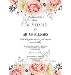 wedding floral watercolor invite card design vector image