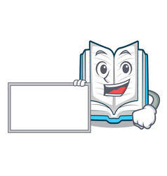 with board opened book on the cartoon table vector image