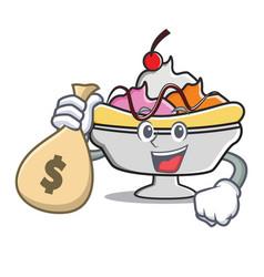 With money bag banana split character cartoon vector