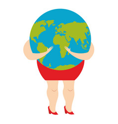 woman hugging earth planet world is in female vector image