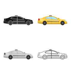 Yellow taxi car in profiletransport taxi station vector