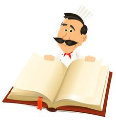 chef cook holding recipes book vector image