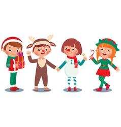 Children celebrating Christmas in Christmas Costum vector image vector image