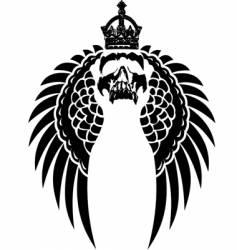 Crowned skull on wings vector