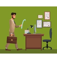 man standing office space desk chair diploma vector image