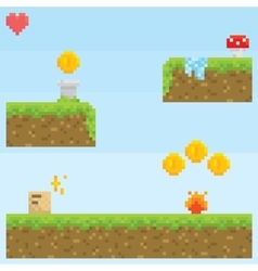 Pixel art style retro game level asset vector image vector image