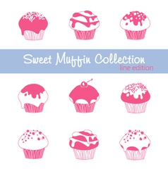 Sweet Muffin Collection Lined vector image