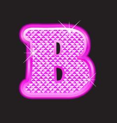 B letter pink bling girly vector