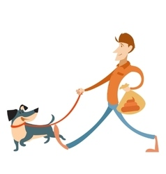 Man with its dog and a bag for gogs poop vector image vector image