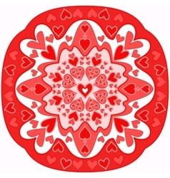 red abstract Zentangle heart mandala vector image vector image