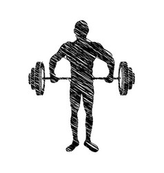 silhouette drawing muscle man lifting a disc vector image vector image