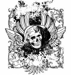 Evil angel grunge skull illustration vector