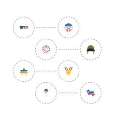 Flat icons medallion soldier helmet firecracker vector