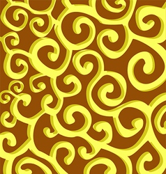 Pattern with yellow stylish spiral curls on brown vector image