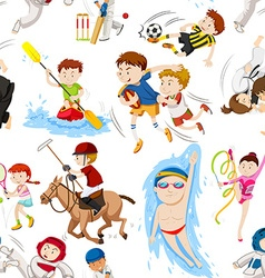 Seamless background with many sports vector image vector image
