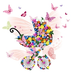 stroller of flowers and butterflies vector image