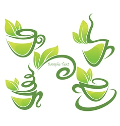 green tea collection of forms symbols and vector image