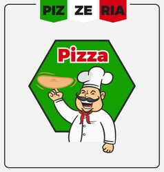 Pizzeria mascot logo template vector image