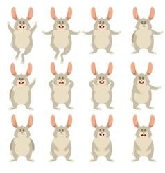 Set of flat rabbit icons vector image