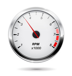 tachometer round gauge with chrome frame vector image
