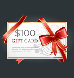 100 dollars gift card certificate with ribbon vector image