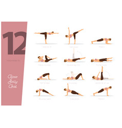 12 yoga poses to lose belly fat vector image
