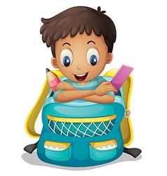 A boy inside a schoolbag vector image