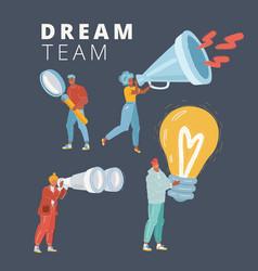 a deam team concept on dark background vector image