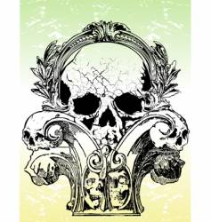 ancient grunge skull illustration vector image