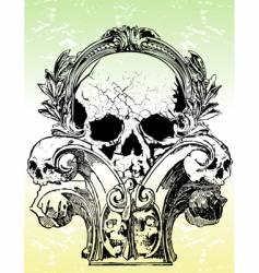 Ancient grunge skull illustration vector