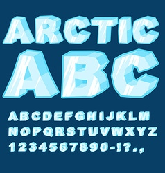 Arctic ABC Icy font letters Blue cold alphabet vector
