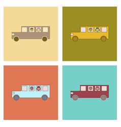 Assembly flat icons school bus vector
