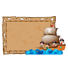 Border template with kids as pirates vector