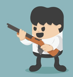 Businessman holding a gun vector
