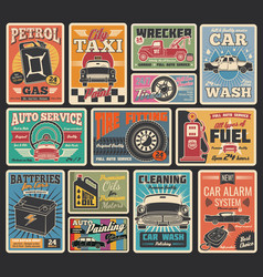 Car service and auto repair garage retro cards vector