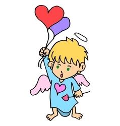 Cartoon cupid with love balloon vector image