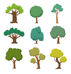 Cartoon green trees cute nature forest plant and vector