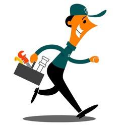 Cartoon plumber rushing vector
