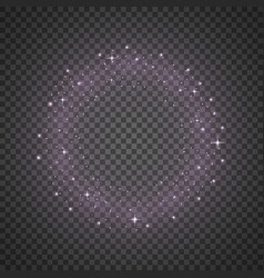 Circle of glitter particles purple color vector