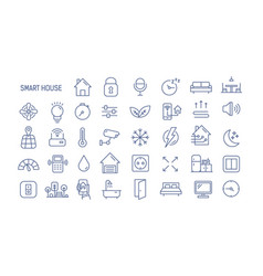 collection of smart house linear icons - control vector image