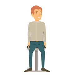 Colorful silhouette of man in casual clothes and vector