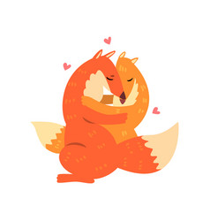 Couple of cute red foxes in love embracing each vector