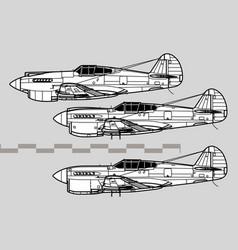 curtiss p-40 warhawk vector image