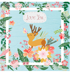 cute deer in the tropical flower frame vector image