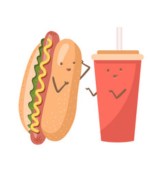 cute funny smiling happy hot dog and soda water vector image
