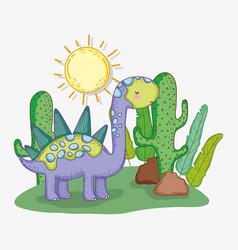 Cute stegosaurus animal with cactus and sun vector