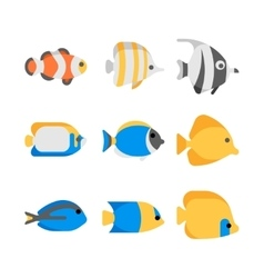 Cute tropical sea fish icons vector