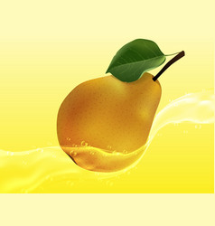 delicious juicy pear in a spray of juice vector image