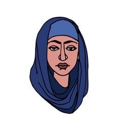 Eastern muslim young cute girl in blue hijab vector
