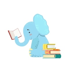Elephant Smiling Bookworm Zoo Character Reading A vector